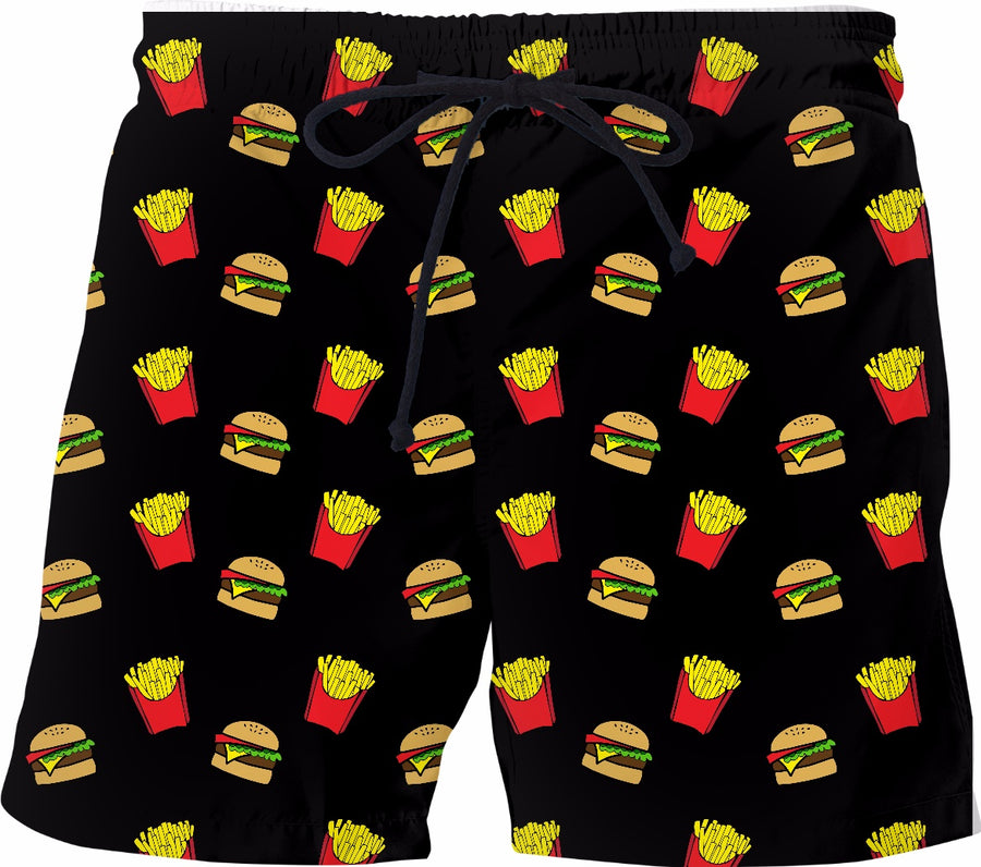 Burger & Fries Black Swim Shorts