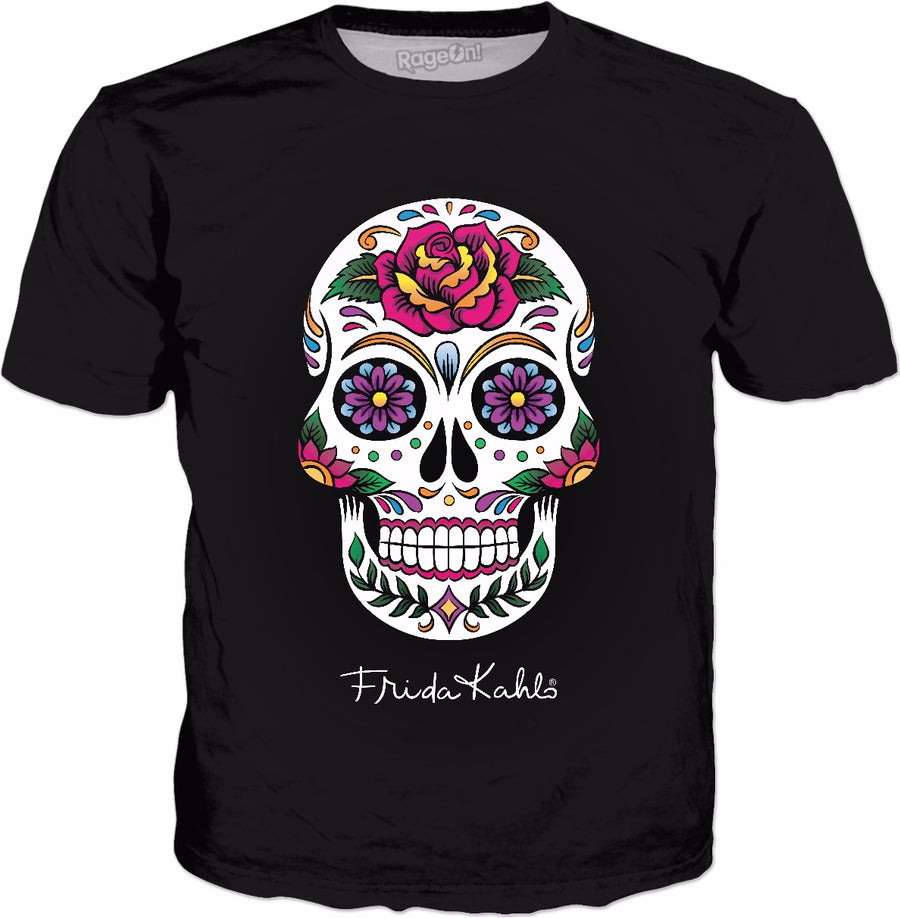 Frida Kahlo Color Sugar Skull Classic Black T-Shirt