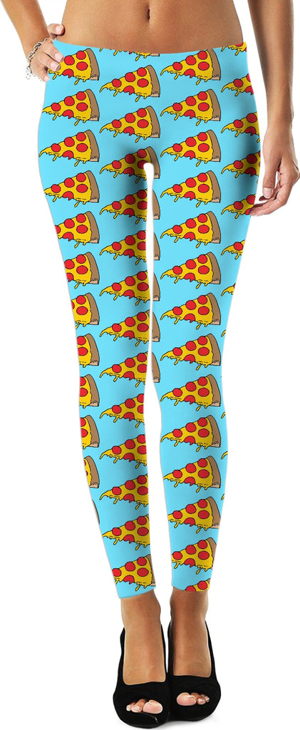 Dripping Pizza Leggings - Blue