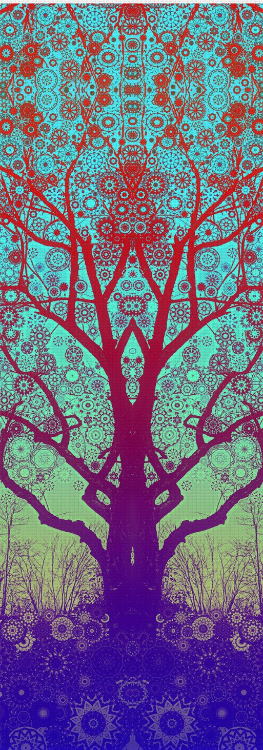 Red Star Trip Tree Yoga Mat
