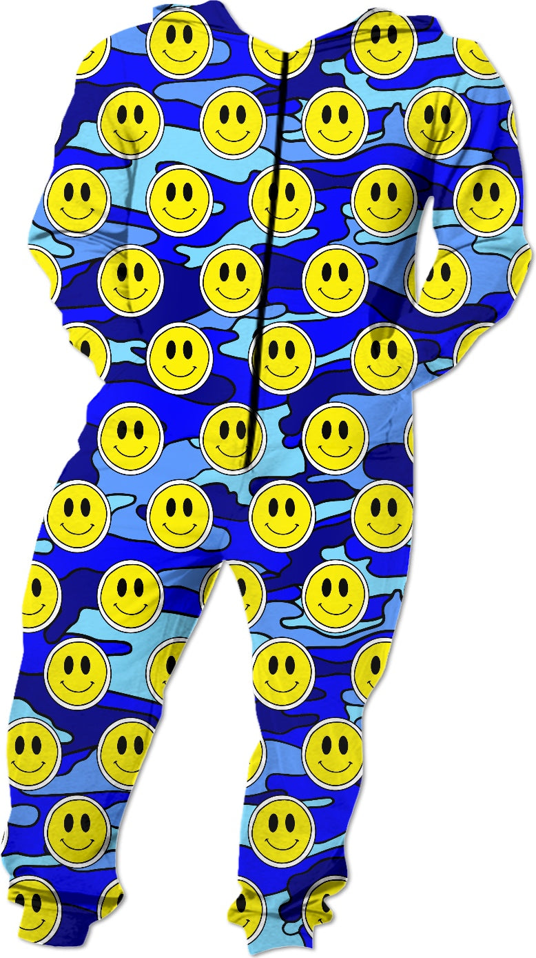 Smiley Blue Camo Onesie