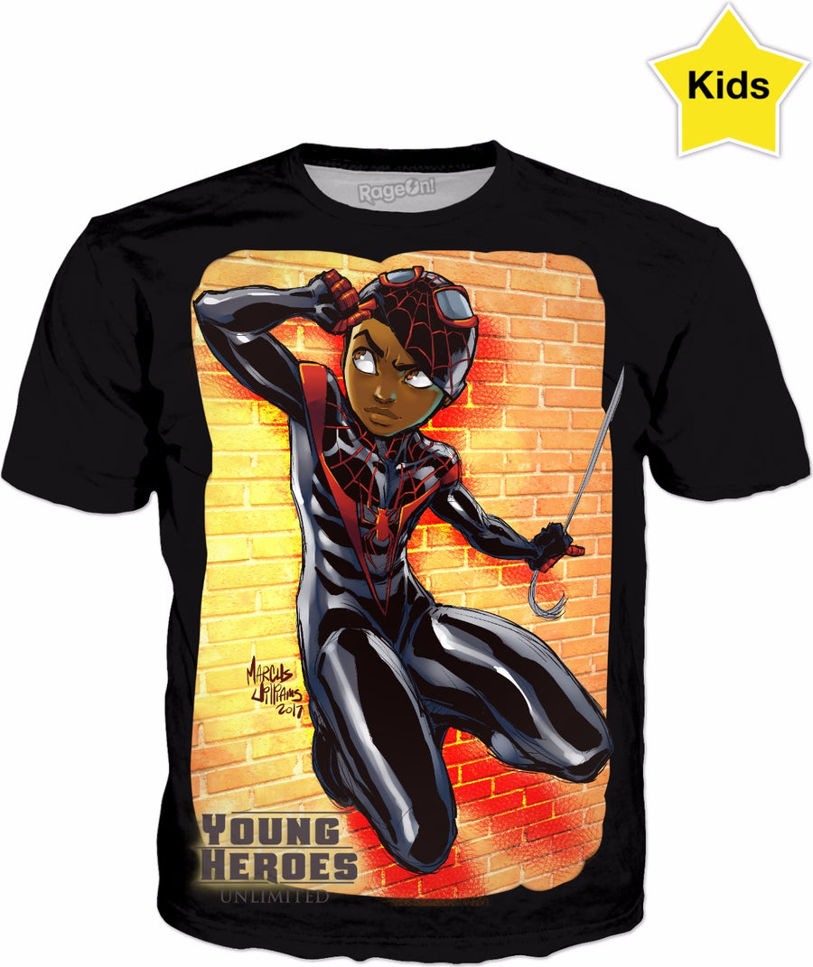 Young Heroes: Unlimited (Limited Edition Kids Shirts)- Spider Man (Miles Morales)