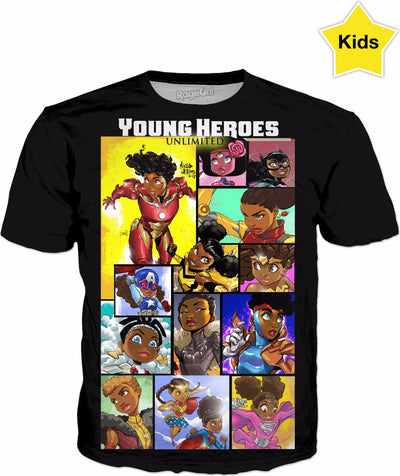 Young Heroes: Unlimited (Limited Edition Kids Shirts)- Girl Heroes Mosaic