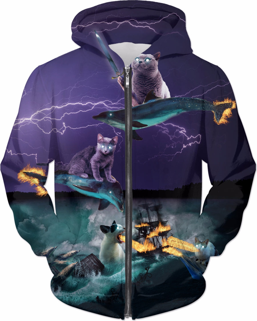Cats Riding Fire Dolphins Wreaking Sea Havoc Zip-Up Hoodie