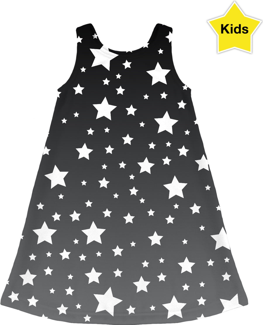 Grey Ombre White Stars Kids Dress