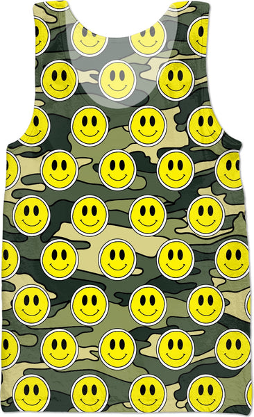 Smiley Green Camo Tank Top
