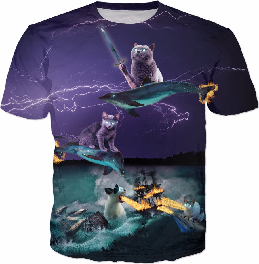 Cats Riding Fire Dolphins Wreaking Sea Havoc T-shirt