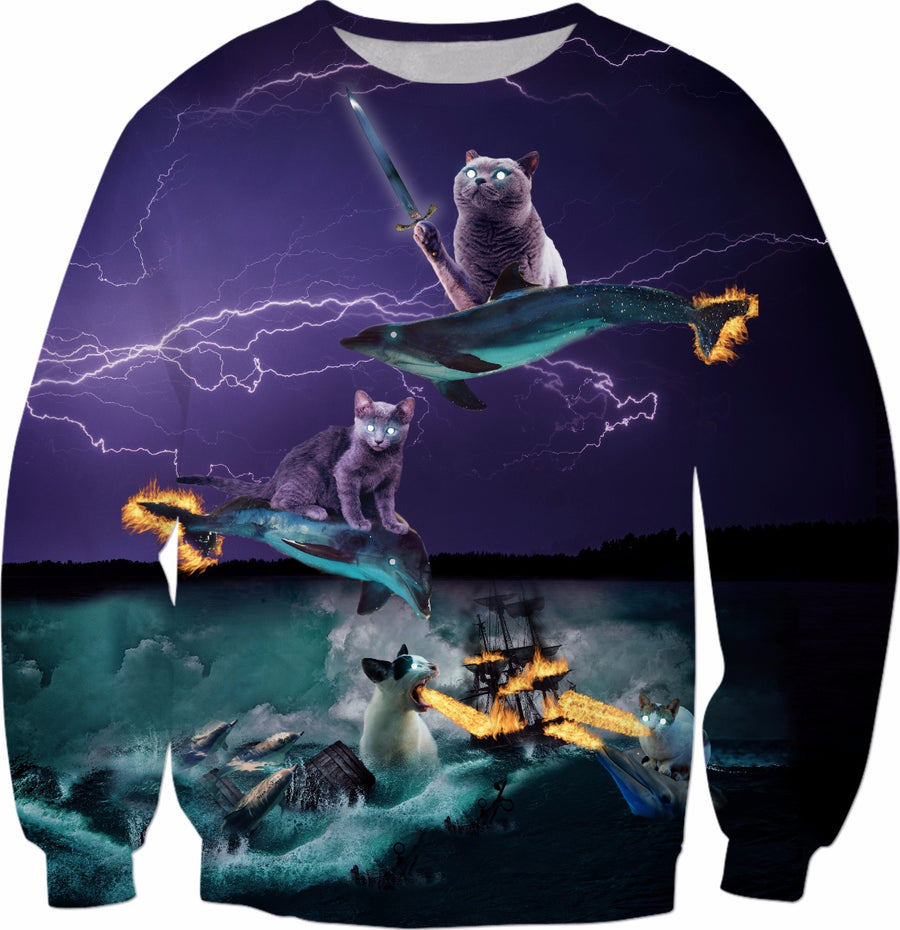 Cats Riding Fire Dolphins Wreaking Sea Havoc Sweatshirt