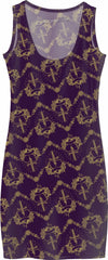 Purple Pierced Heart Pattern Simple Dress