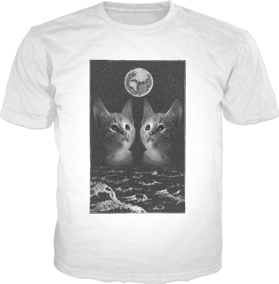 Vintage Cats Moon Poster Style Shirt