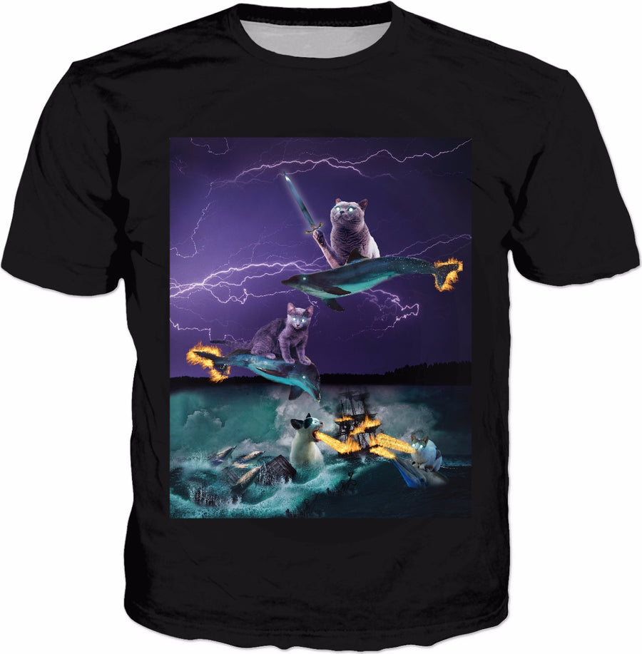 Cats Riding Fire Dolphins Wreaking Sea Havoc Classic T-shirt