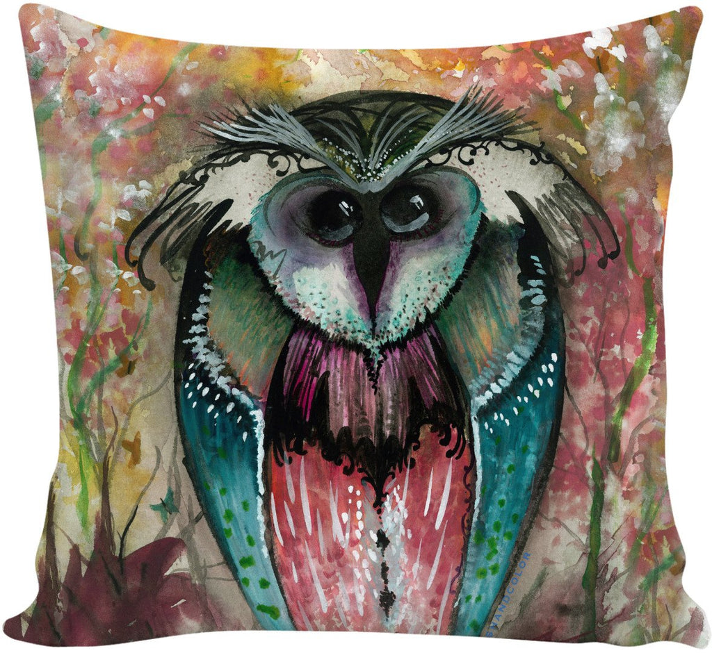 Funky Wood Owl Couch Pillow