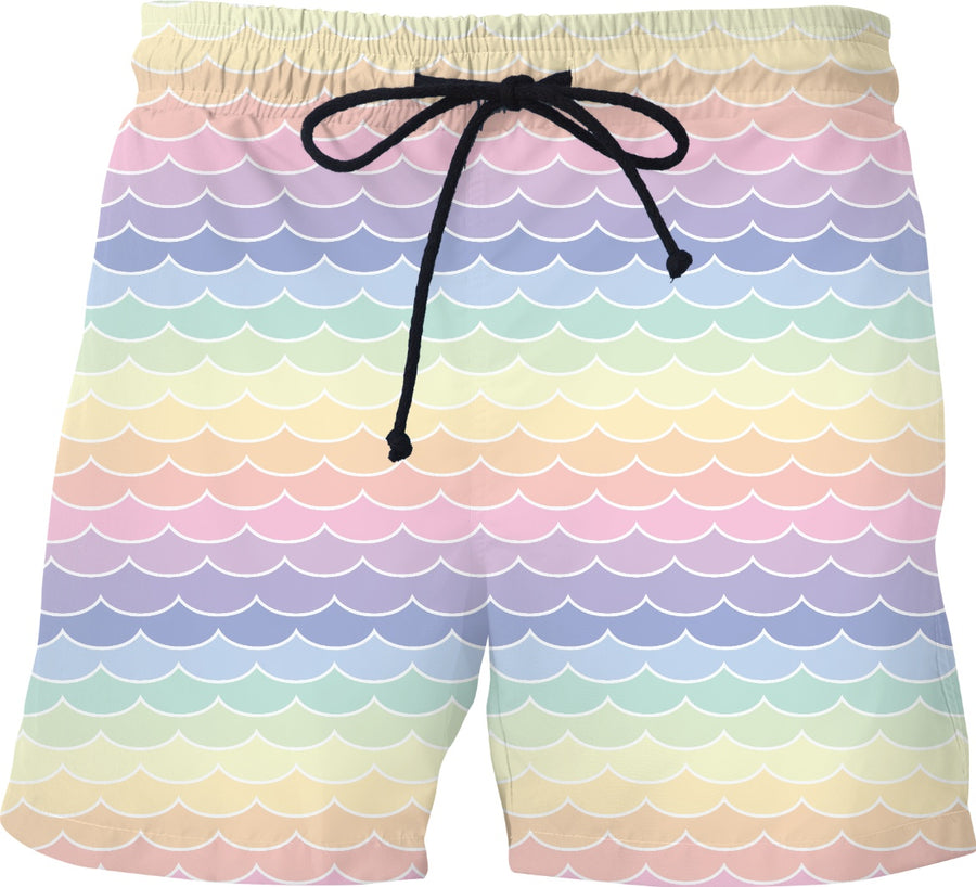 Pastel Rainbow Waves Swim Shorts