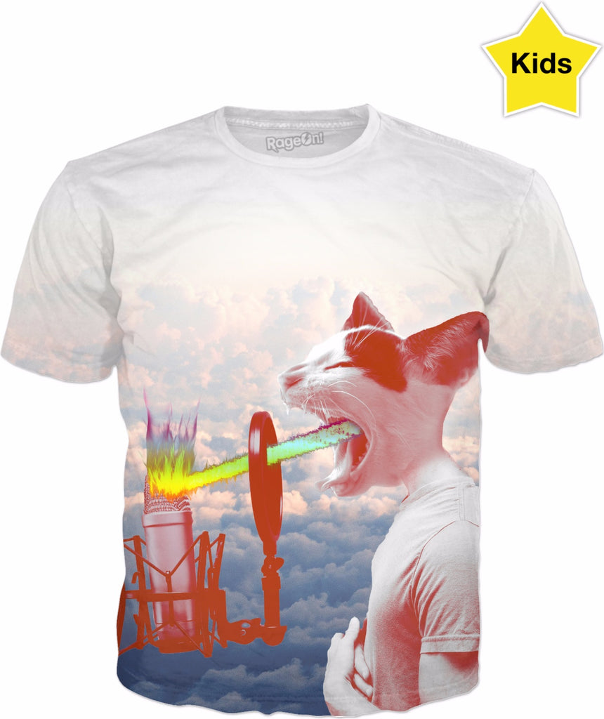 Cool Cat Spitting Mad Fire Kids T-shirt