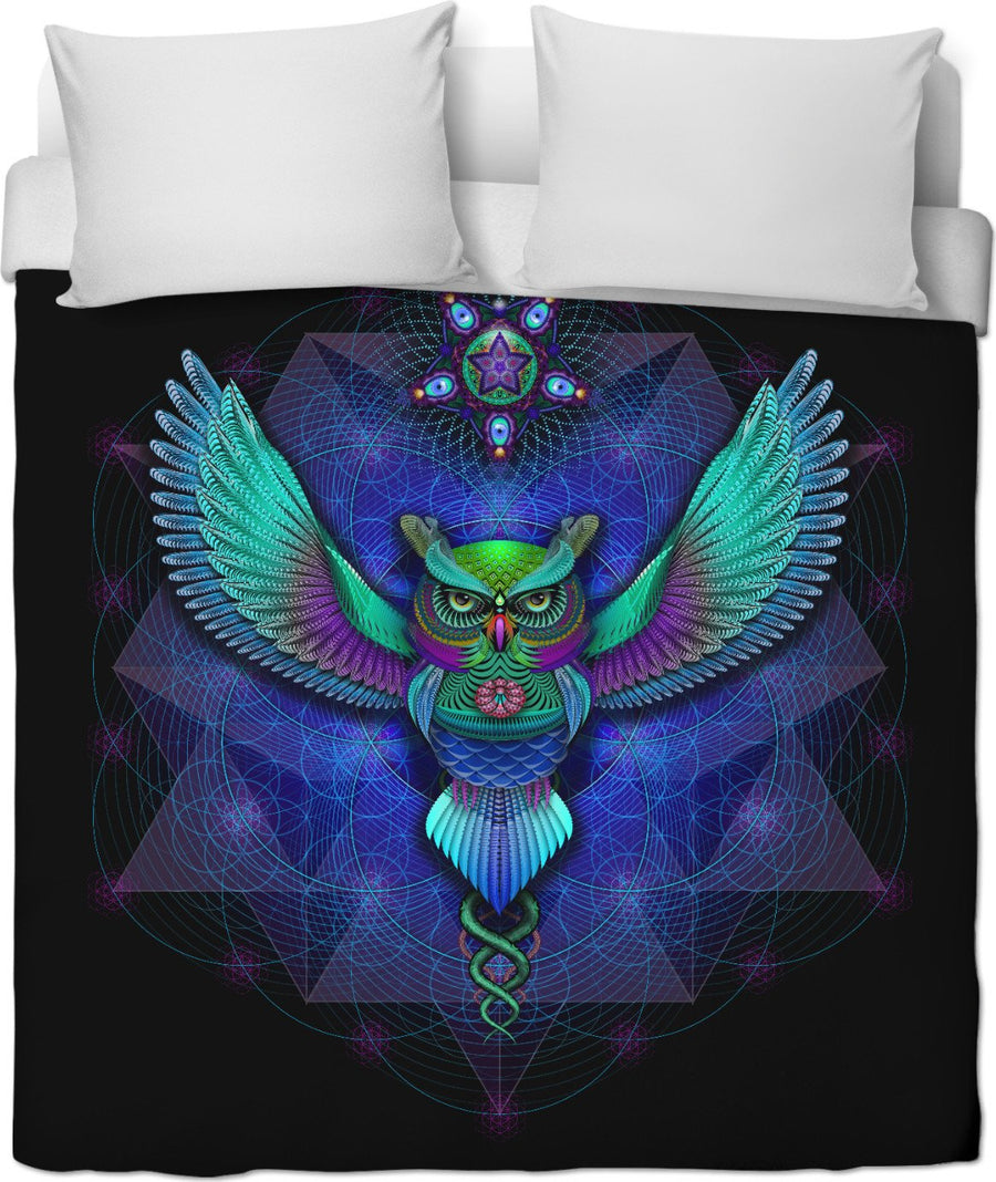 Sacred Geometry Owl Duvet Cover
