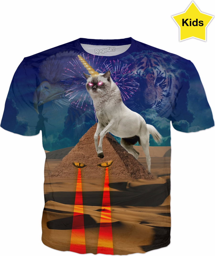 Super Cat Unicorn Caticorn Protecting The Pyramids Kids T-shirt