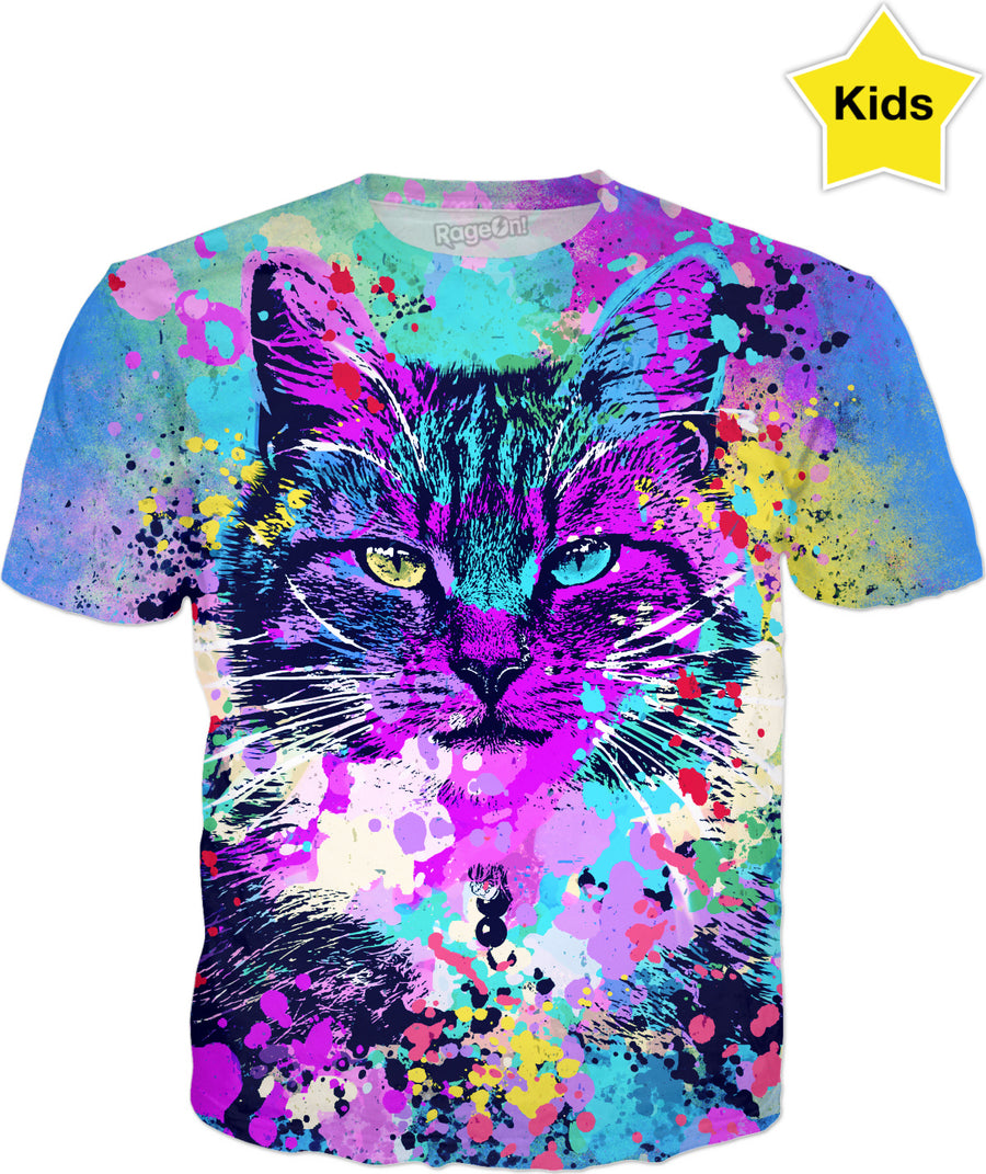 Wild Paint Splash Kitten - Blue Model - Men, Women And Kids T-Shirts And Sweatshirts And Hoodie