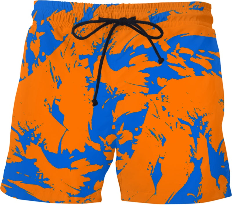 Orange And Blue Paint Splatter Swim Shorts