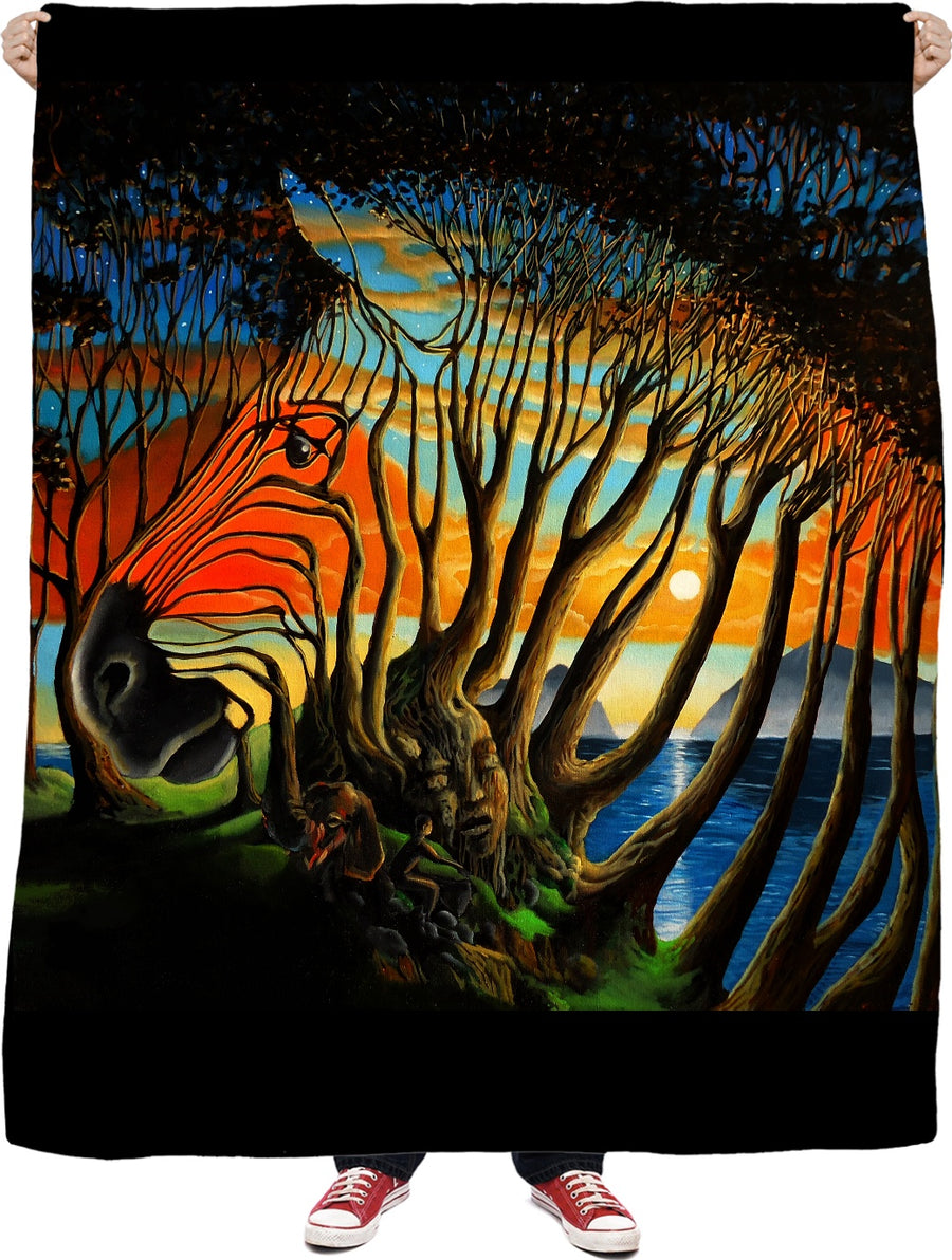 Zebra Trees Fleece Blanket