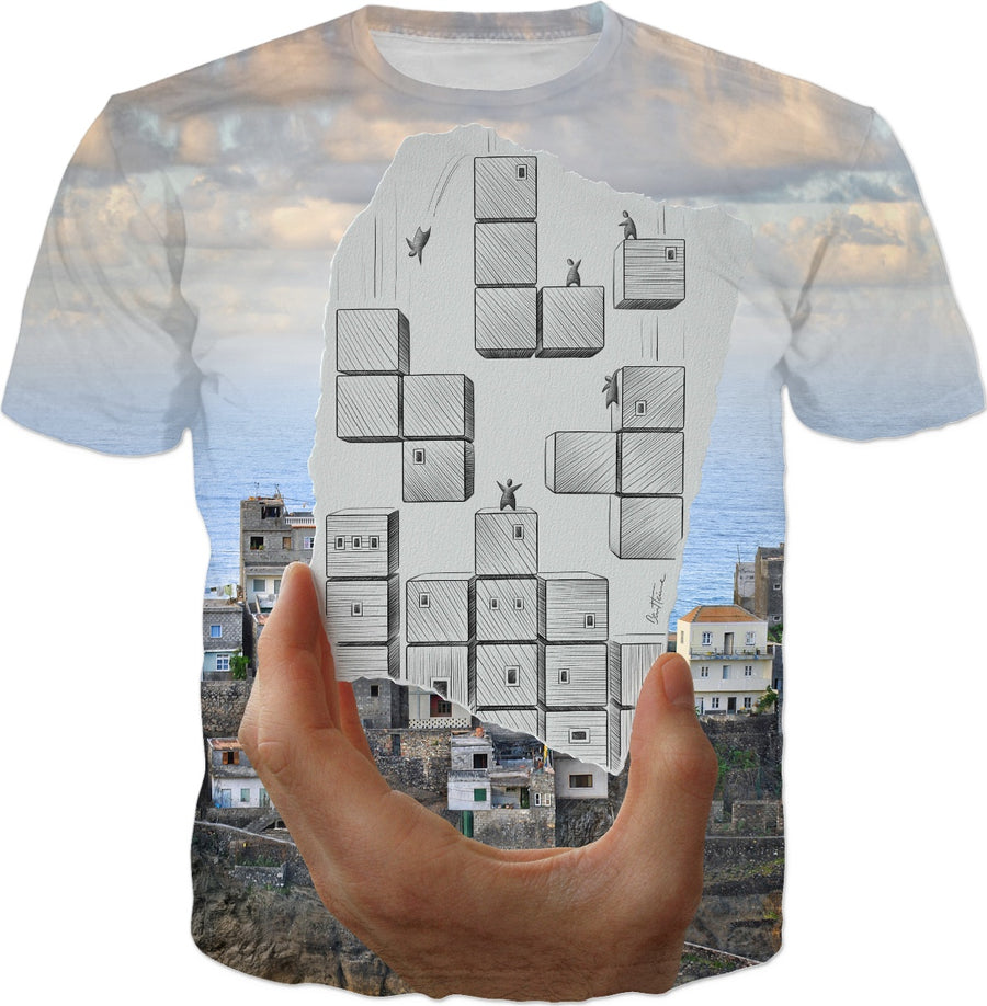 City Tetris Game - Pencil Vs Camera - T-shirts and Clothes - Ben Heine Art
