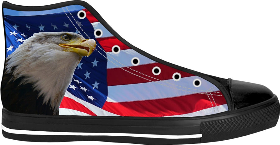 American Flag and Bald Eagle High Tops Sneakers #ROFreedomContest