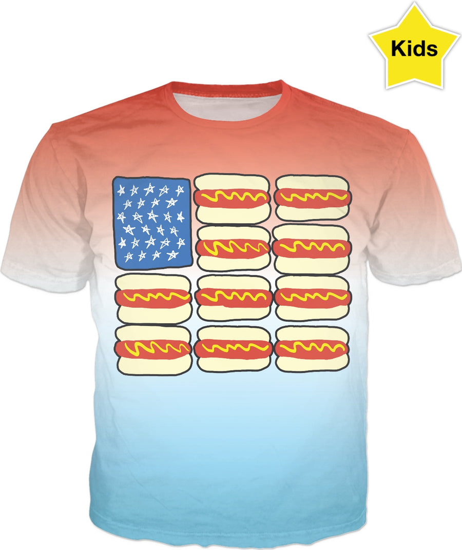 Hot Dog Flag Kids T-Shirt