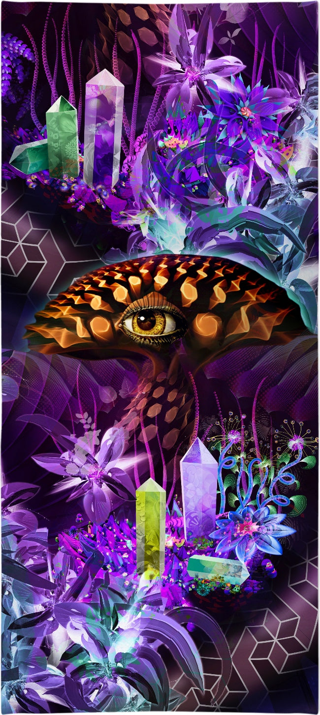 Enchanted Third Eye Mushroom Custom Beach Towel