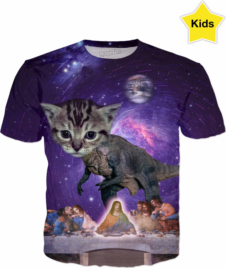 Cat T-Rex Defies Space-Time Continuum to Join Jesus at The Last Supper Kids T-shirt
