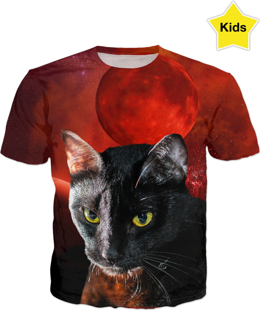 Black Cat and Planet Kids T-Shirt
