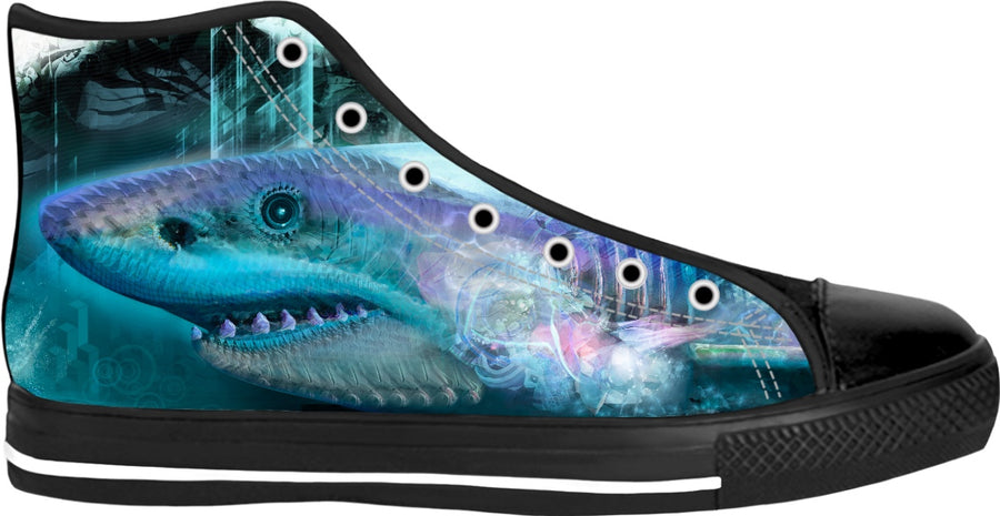 #SharkWeekContest Megalodon Custom Black High Tops