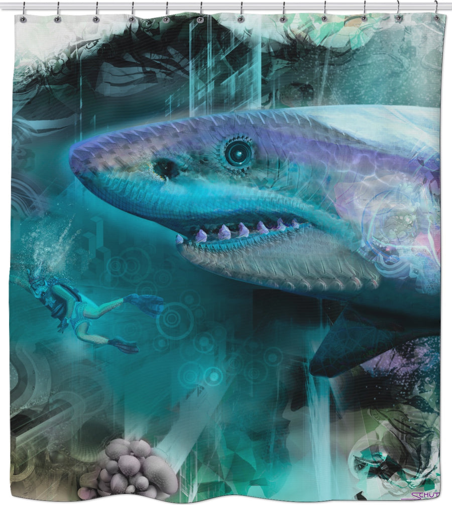 #SharkWeekContest Megalodon Custom Shower Curtain