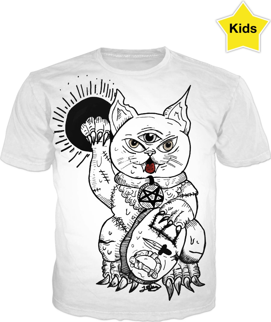 Three Eyed Evil Cat With Pentagram Necklace Kids T-shirt
