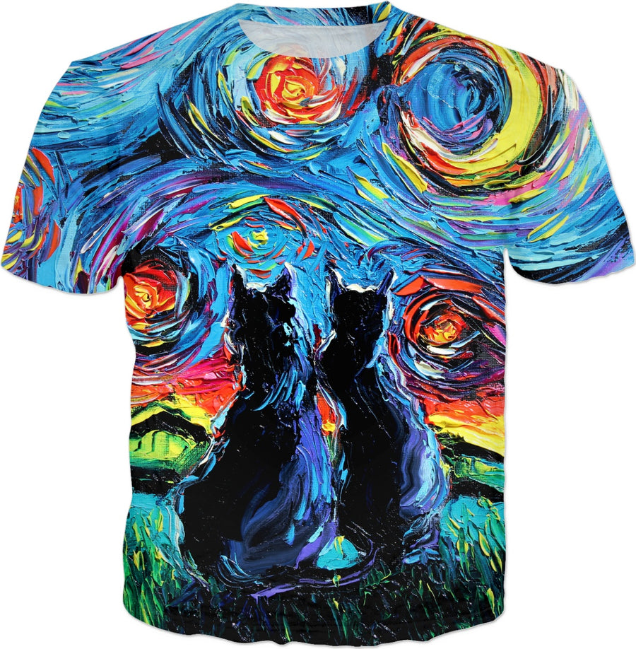 Starry Night Mashup van Gogh's Cats