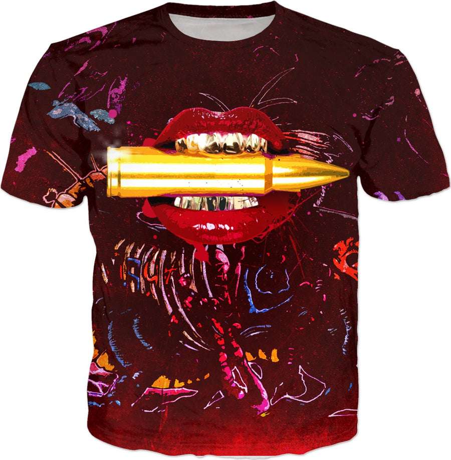 Dirty Soap's Sexy Lips Biting Bullet T-Shirt