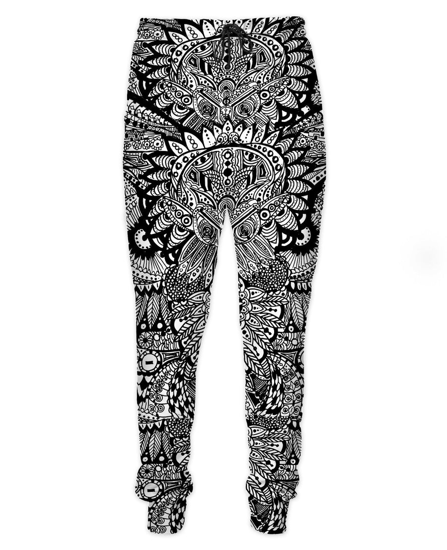Inked Owl Line Art Joggers