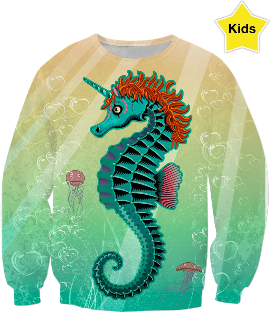 Sea Unicorn Custom Kids Sweatshirt