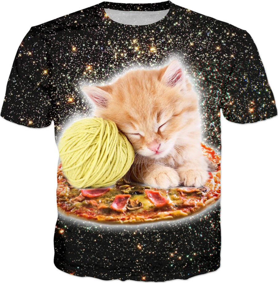 Galaxy Kitty Cat Riding Pizza In Space