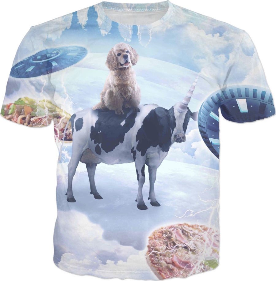 Space Dog Riding Cow Unicorn - Pizza & Taco