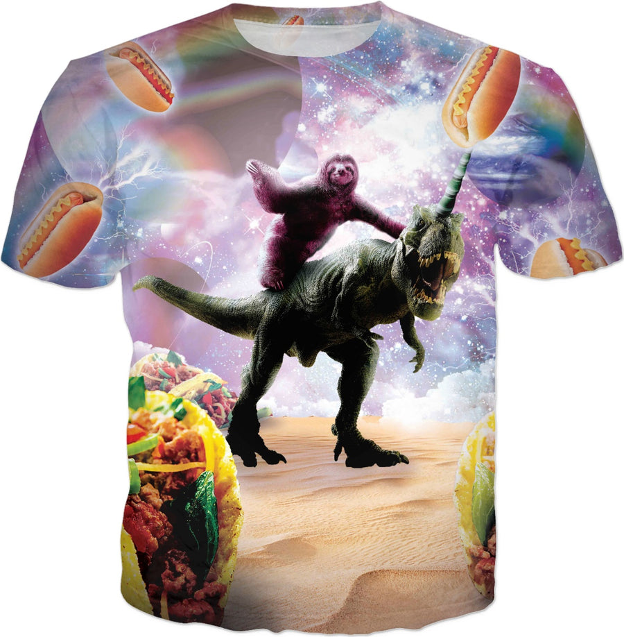 Space Sloth Riding Dinosaur Unicorn - Hotdog & Taco