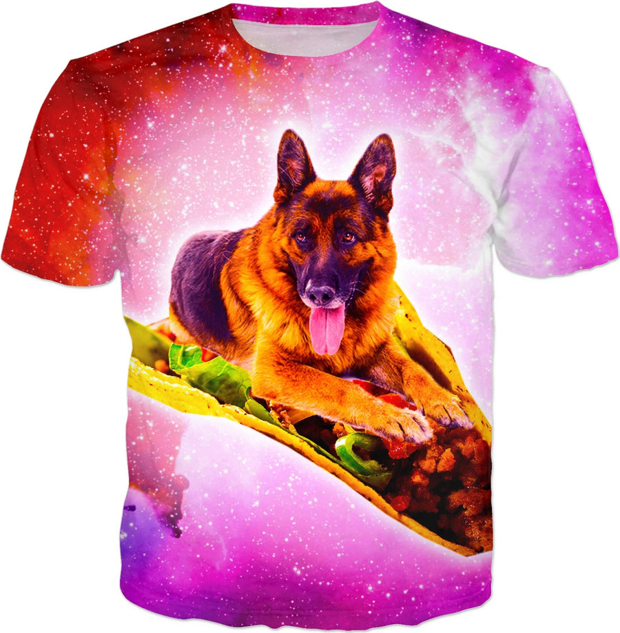Outer Space Galaxy Dog Riding Taco