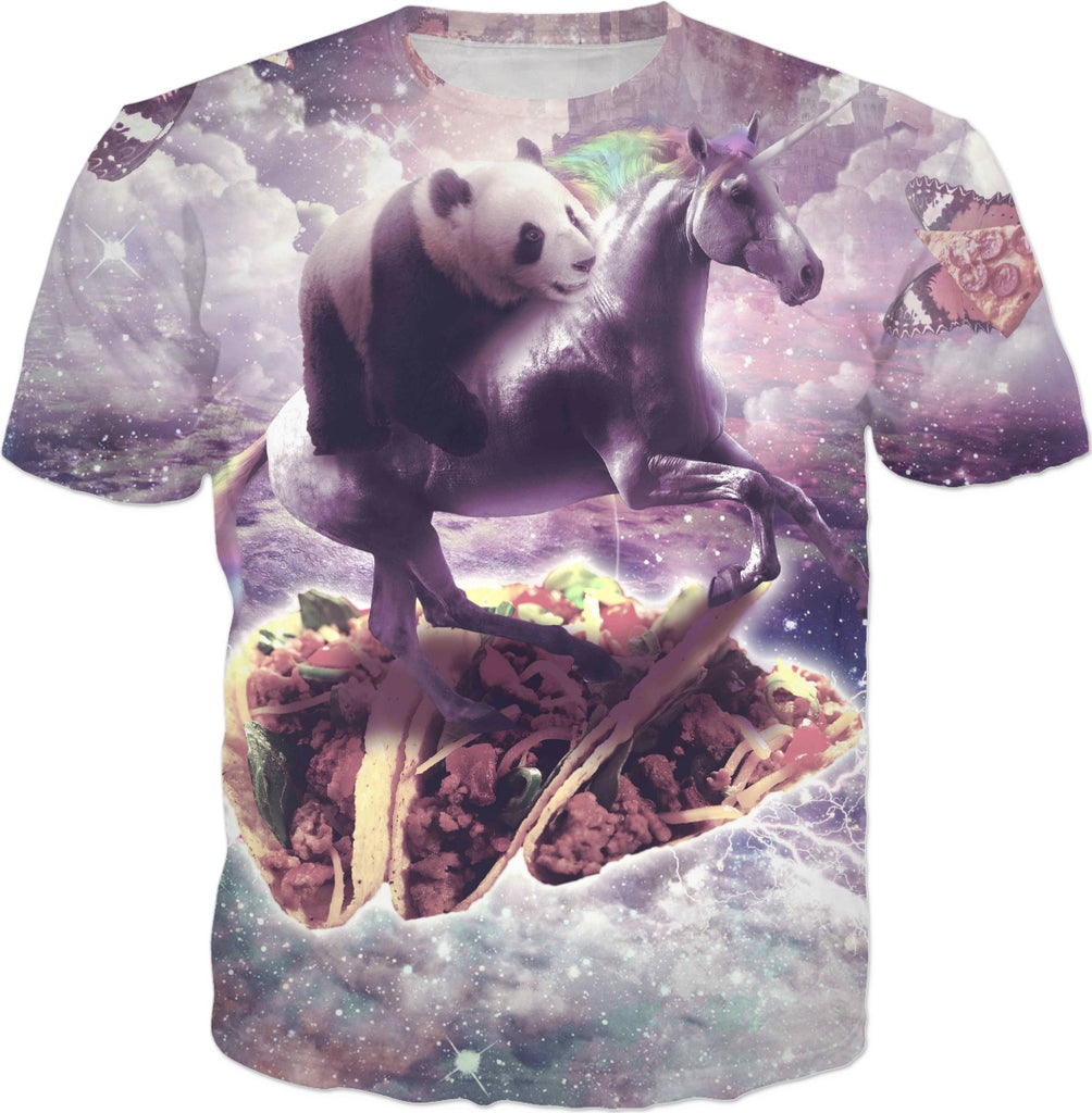 Space Panda Riding Unicorn - Pizza & Taco