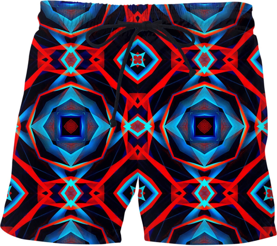 Abstract Pattern Swim Shorts (Red & Blue)