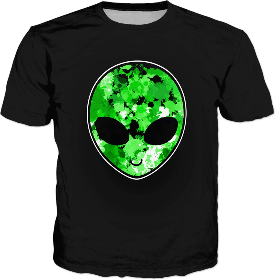 Green Alien Head T-Shirt (Black)