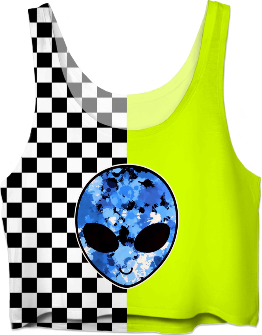 Neon Alien Checkered Crop Top