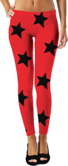 Big Red & Black Stars Leggings