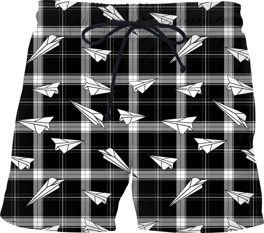 black plaid and paper airplanes