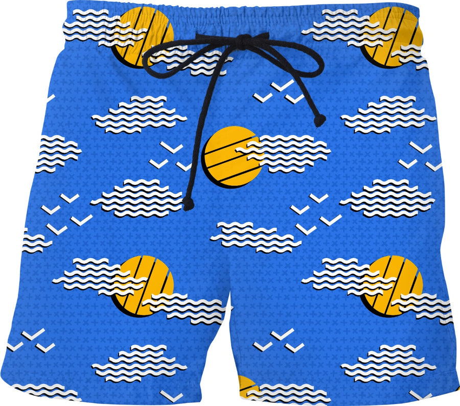 abstract sunny day swim trunks