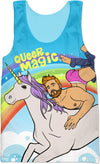 Queer Magic Pride Pinup Boy Riding a Unicorn Tank