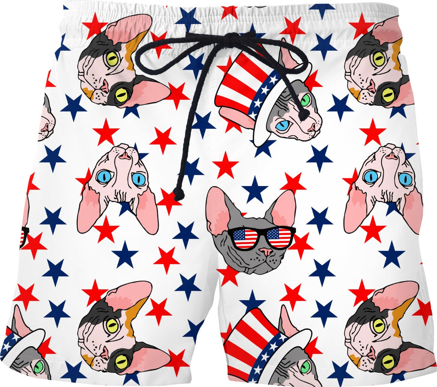 patriotic sphynx swim trunks