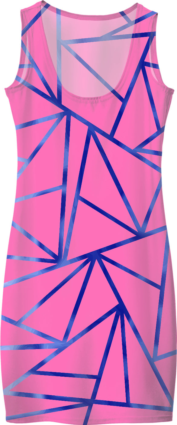 Pink With Blue Borders Dress